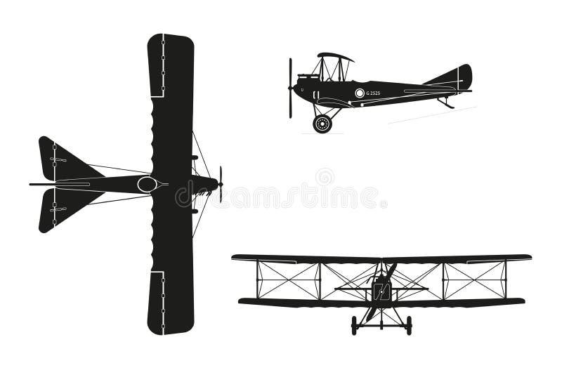 Kontur av det militära retro flygplanet på en vit bakgrund vin royaltyfri illustrationer