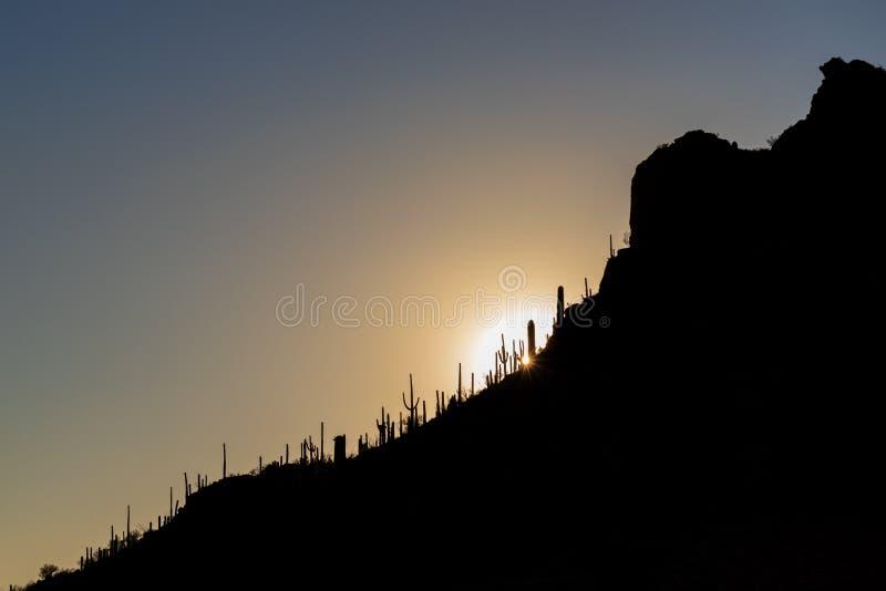 Kontur av en Arizona bergssida på solnedgången royaltyfri fotografi