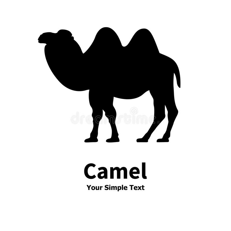 Kontur av en Bactrian kamel stock illustrationer