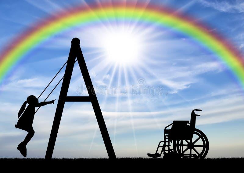Kontur av en barnhandikappade personerflicka p? en gunga bredvid en rullstol p? en bakgrund av himlen med en regnb?ge fotografering för bildbyråer