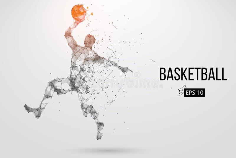 Kontur av en basketspelare också vektor för coreldrawillustration royaltyfri illustrationer