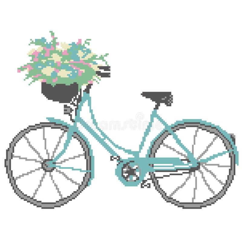 Kontur av en blå cykel med en korg av färger som dras av fyrkanter, PIXEL medel stock illustrationer