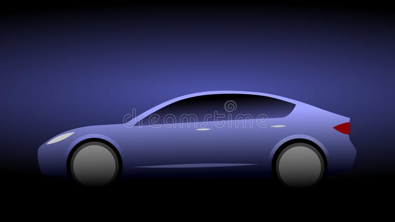 Kontur av en blå lyxig modern bil royaltyfri illustrationer