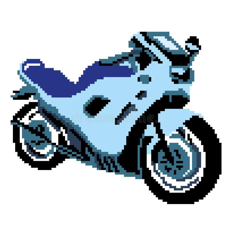 Kontur av en blå sportcykel som dras av fyrkanter, PIXEL medel också vektor för coreldrawillustration stock illustrationer