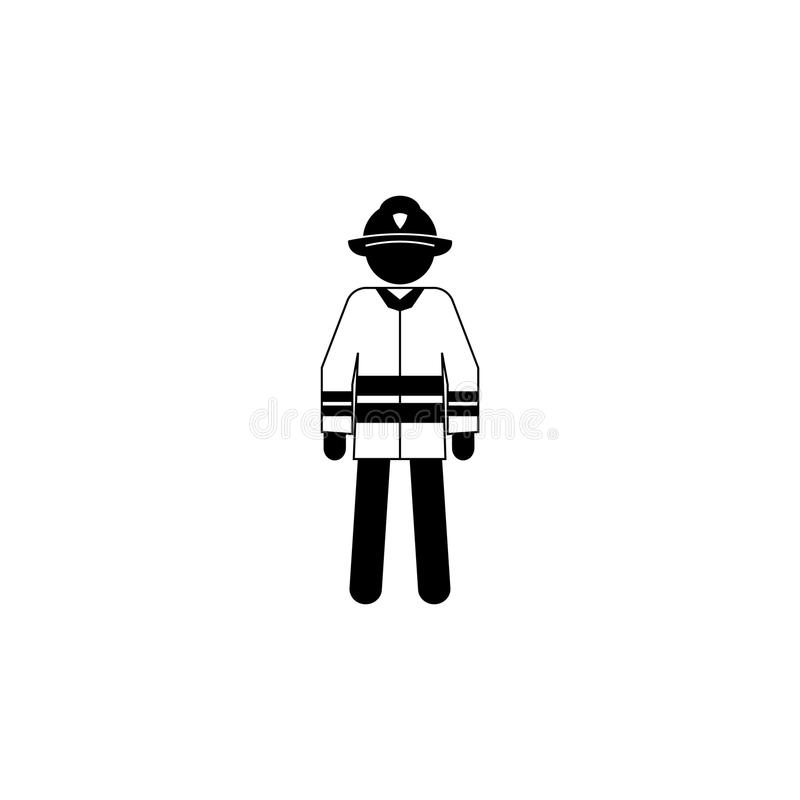 Kontur av en brandmansymbol Symbol för beståndsdel för special service Högvärdig kvalitets- symbol för grafisk design Yrketecken, royaltyfri illustrationer