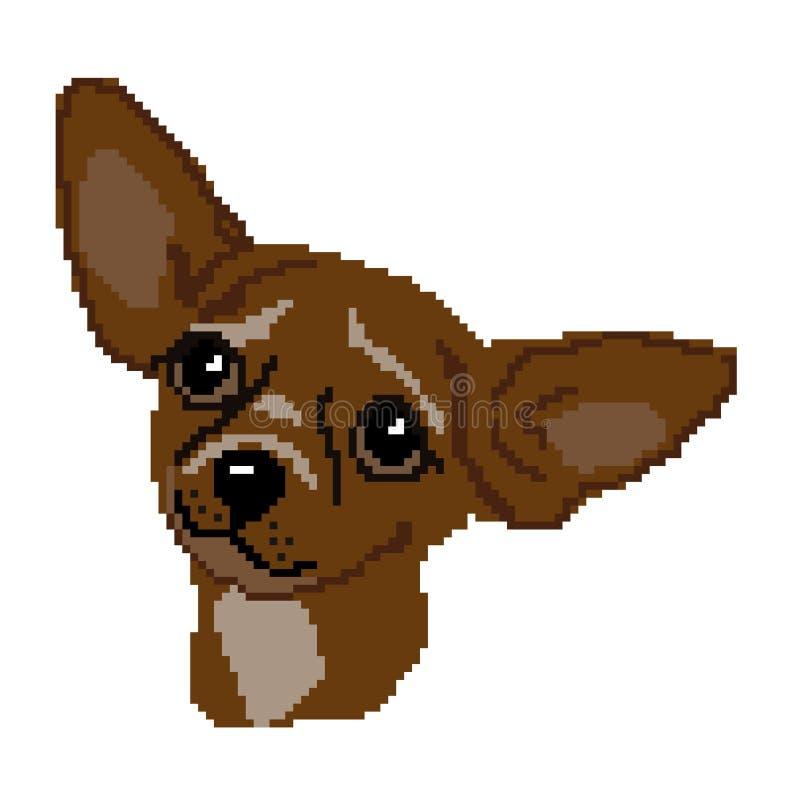 Kontur av en brun avelhund Chihuahuaen tystar ned, huvudet som dras av fyrkanter, PIXEL Bilden av tystar ned avelbruntchihuahuaen royaltyfri illustrationer