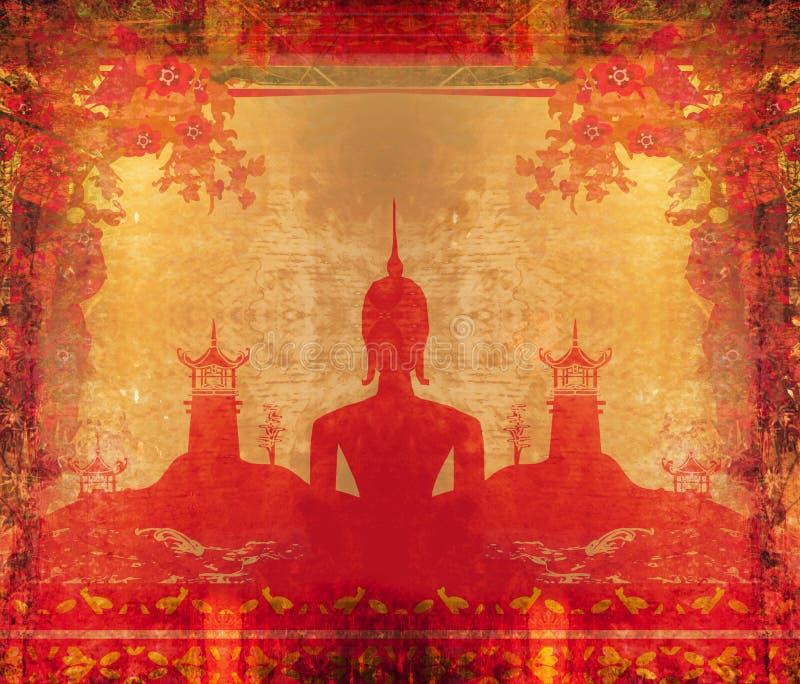 Kontur av en Buddha i grungetextur vektor illustrationer