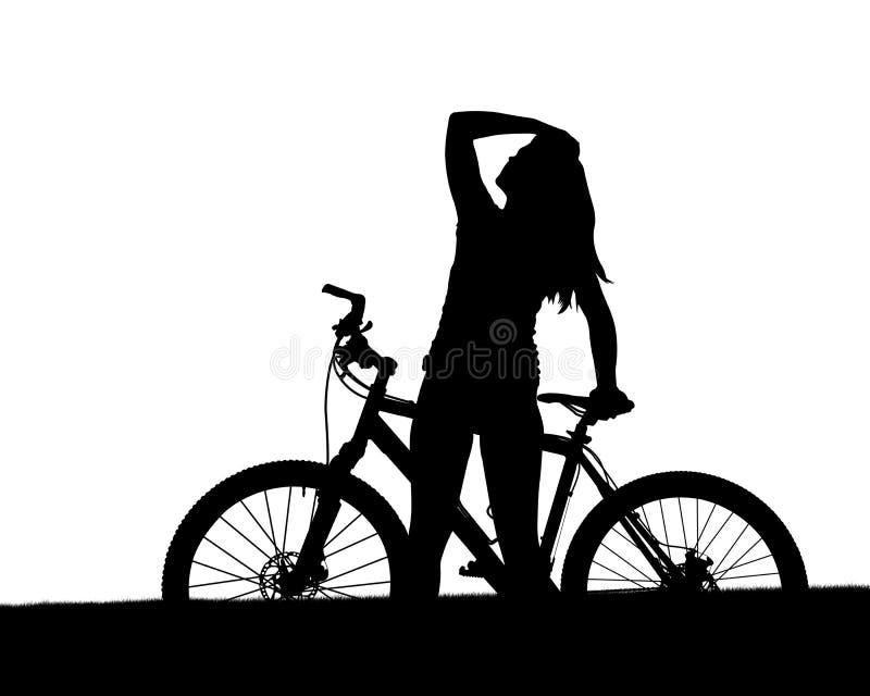 Kontur av en cyklist med mountainbiket stock illustrationer