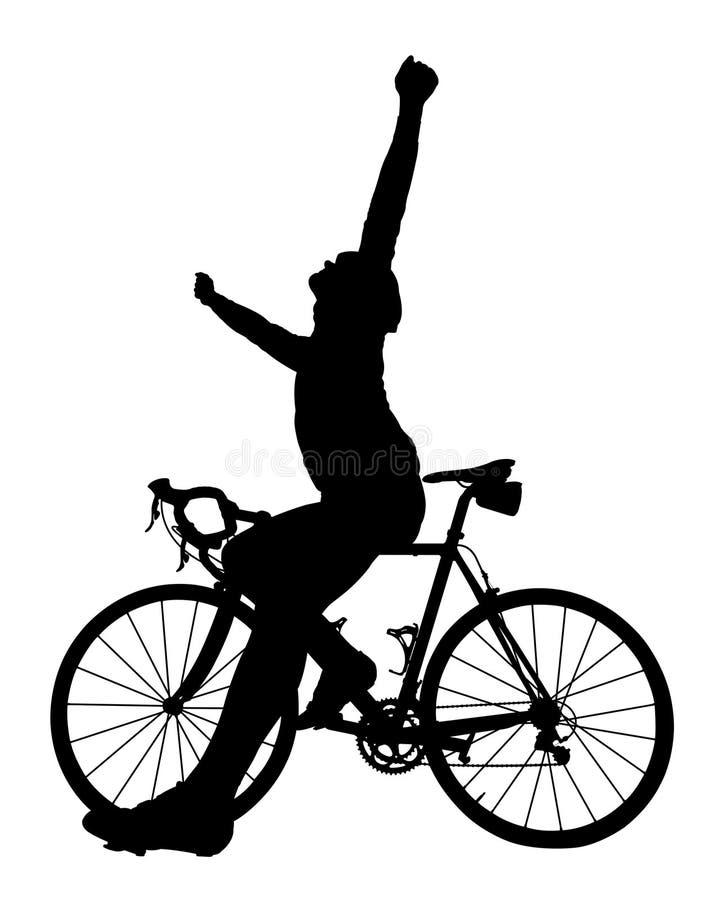 Kontur av en cyklist på en vägcykel royaltyfri illustrationer