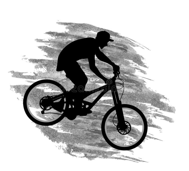 Kontur av en cyklist som går ner på en mountainbike på en lutning vektor illustrationer