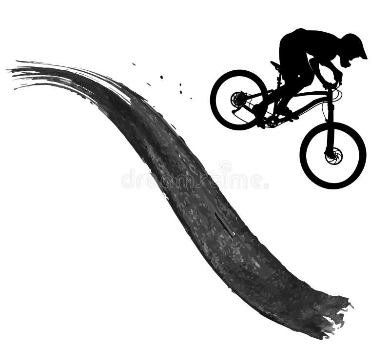 Kontur av en cyklist som rider en mountainbike royaltyfria foton