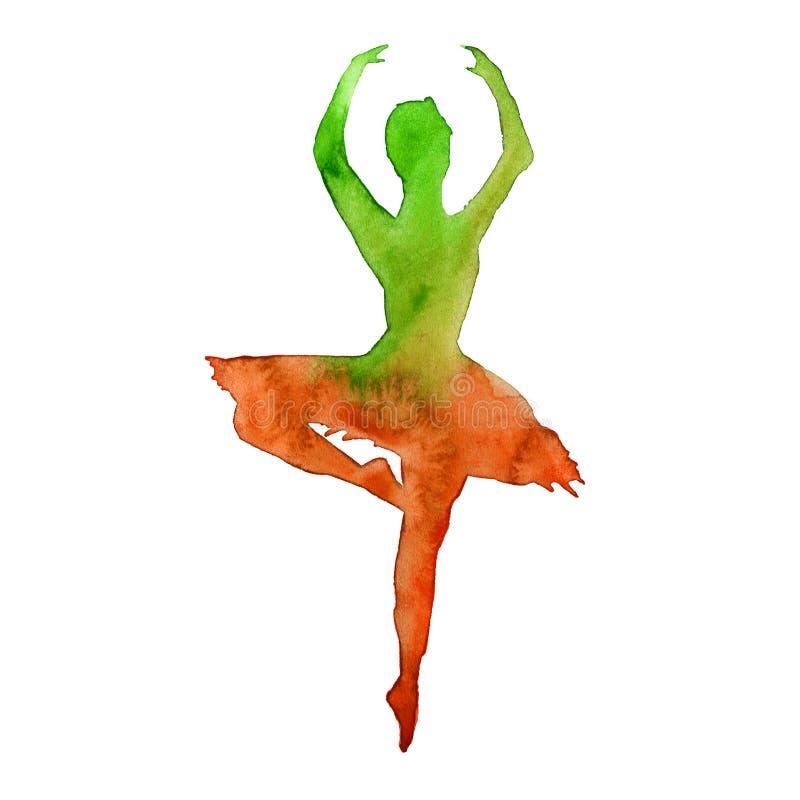Kontur av en dansare ballerina vattenfärg vektor illustrationer