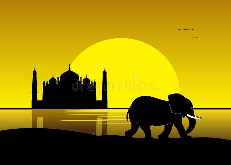 Kontur av en elefant mot den gula himlen stock illustrationer