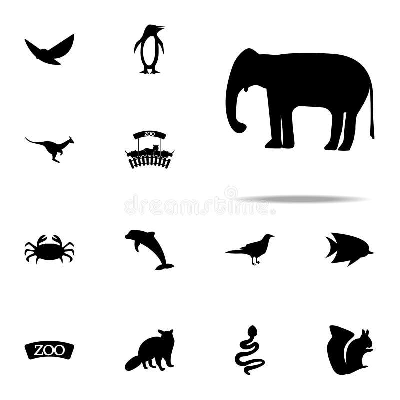 kontur av en elefantsymbol universell uppsättning för zoosymboler för rengöringsduk och mobil vektor illustrationer