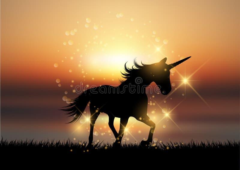 Kontur av en enhörning i solnedgånglandskap vektor illustrationer