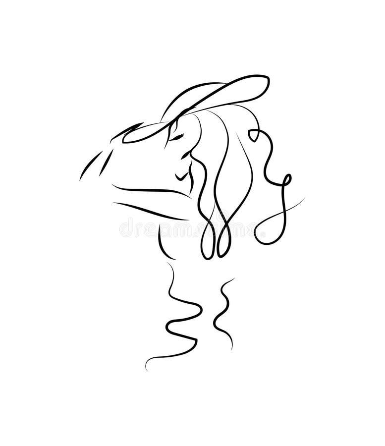 Kontur av en flicka i profil Monokrom teckning Härlig ung flicka i en hatt stilfull kvinna för stående skissa royaltyfri illustrationer