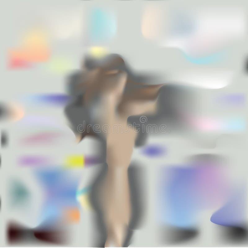 Kontur av en flicka som är suddig vid regn Vektorfantasidiagram vektor illustrationer
