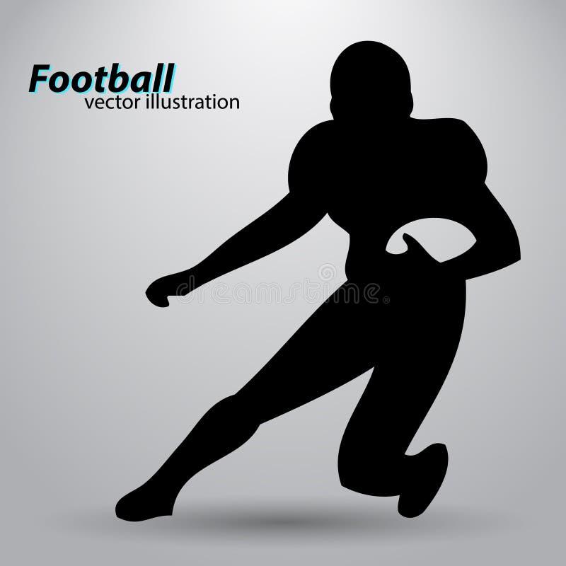 Kontur av en fotbollsspelare rugby amerikansk footballer stock illustrationer