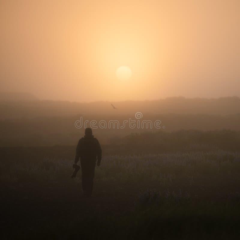 Kontur av en fotograf i dimman på soluppgång arkivbilder