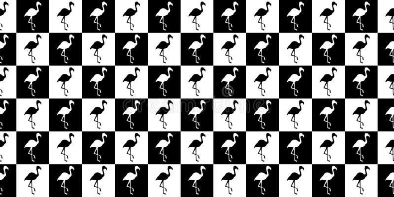 Kontur av en geometrisk sömlös modell för flamingo Kontur av flamingo i svartvita fyrkanter royaltyfri illustrationer