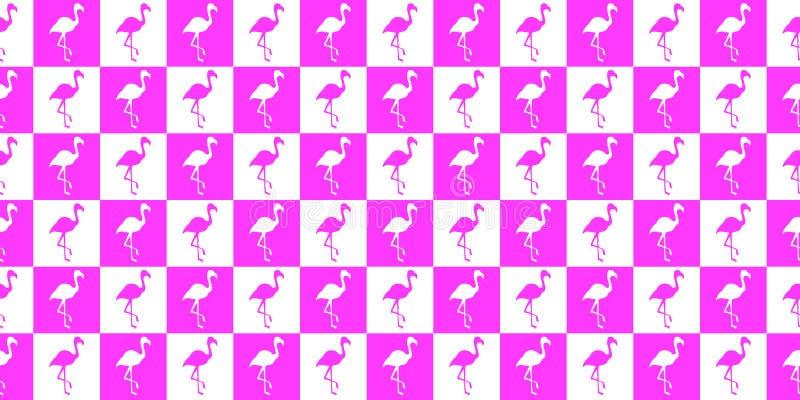 Kontur av en geometrisk sömlös modell för flamingo Kontur av flamingo i vita fyrkanter för rosa färger och royaltyfri illustrationer
