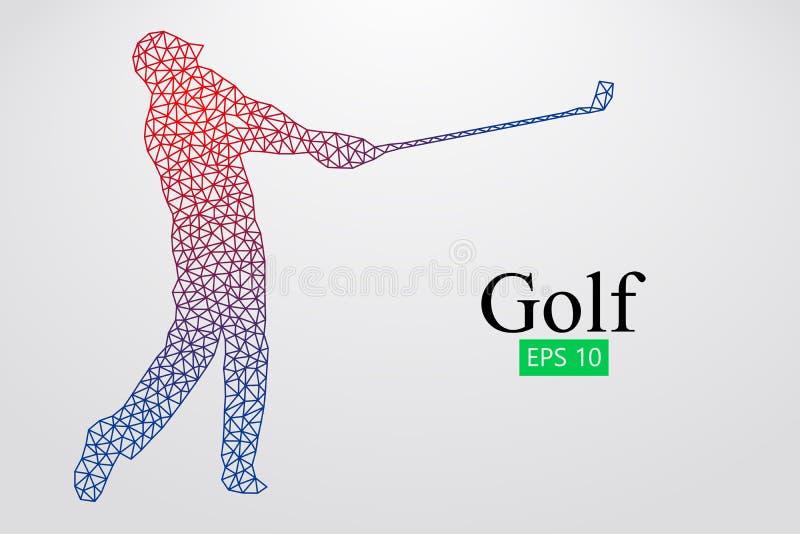 Kontur av en golfspelare också vektor för coreldrawillustration stock illustrationer