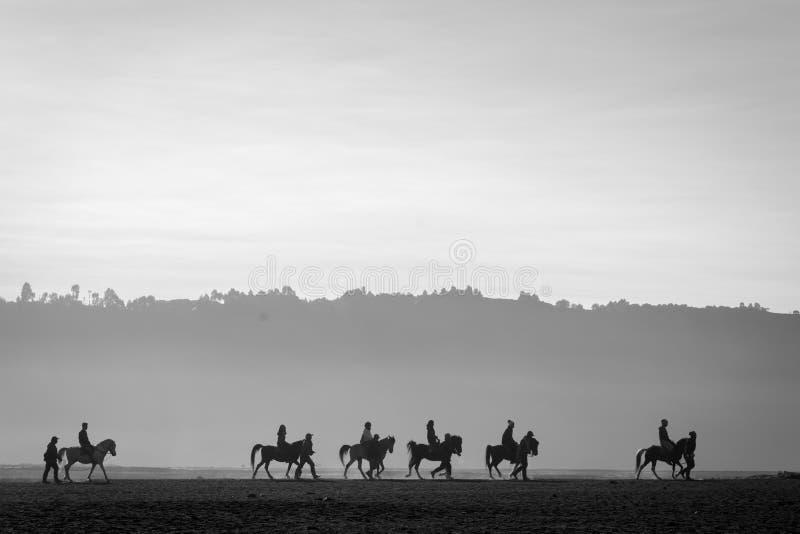 Kontur av en grupp av hästryttare på Bromo royaltyfria foton