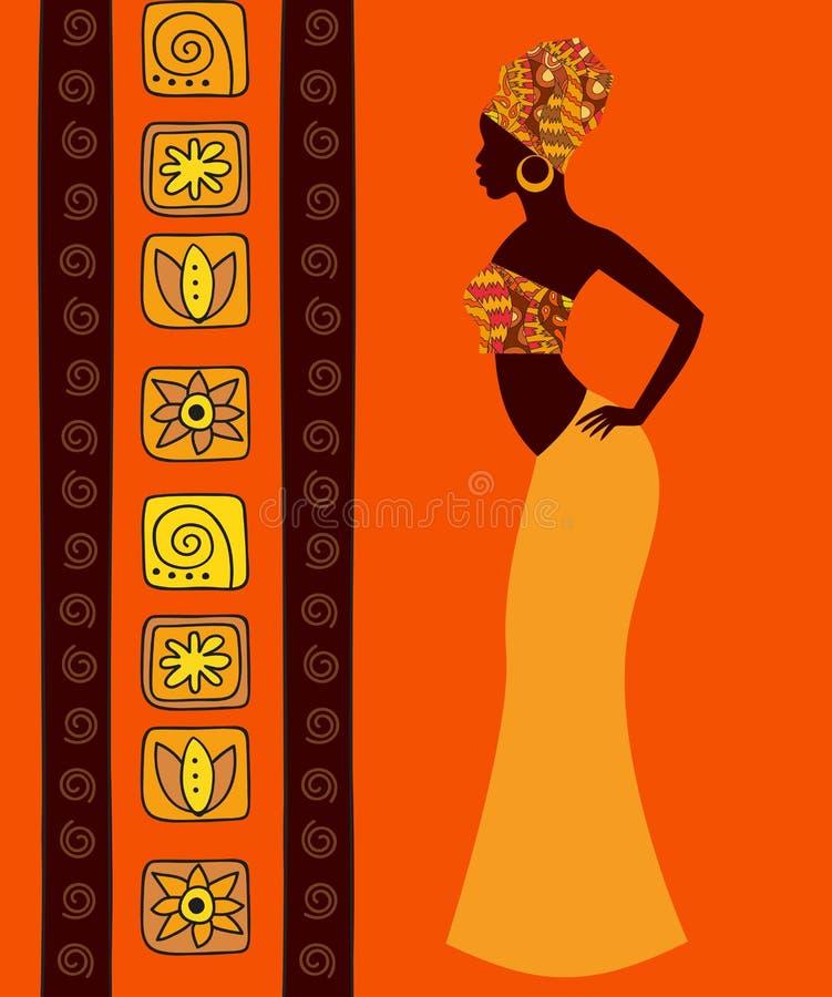Kontur av en härlig afrikansk kvinna royaltyfri illustrationer