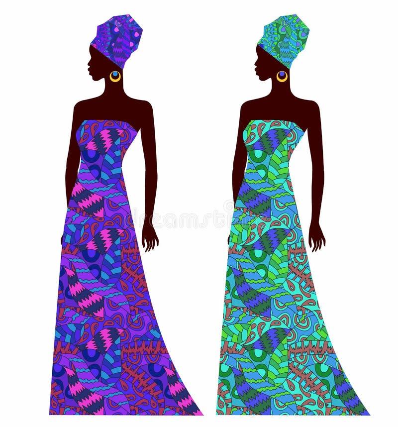Kontur av en härlig afrikansk kvinna i en ljus klänning med prydnaden royaltyfri illustrationer