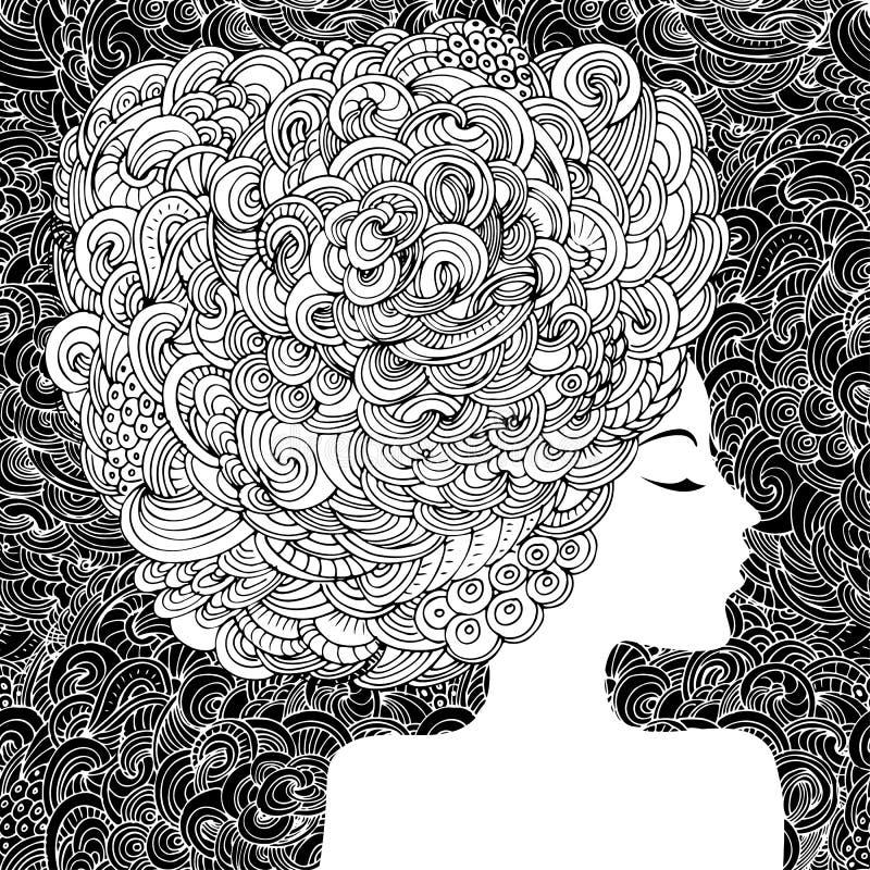 Kontur av en härlig kvinna med lockigt hår Abstrakt dekorativ modeillustration för monokrom Vektor för handteckningsklotter royaltyfri illustrationer
