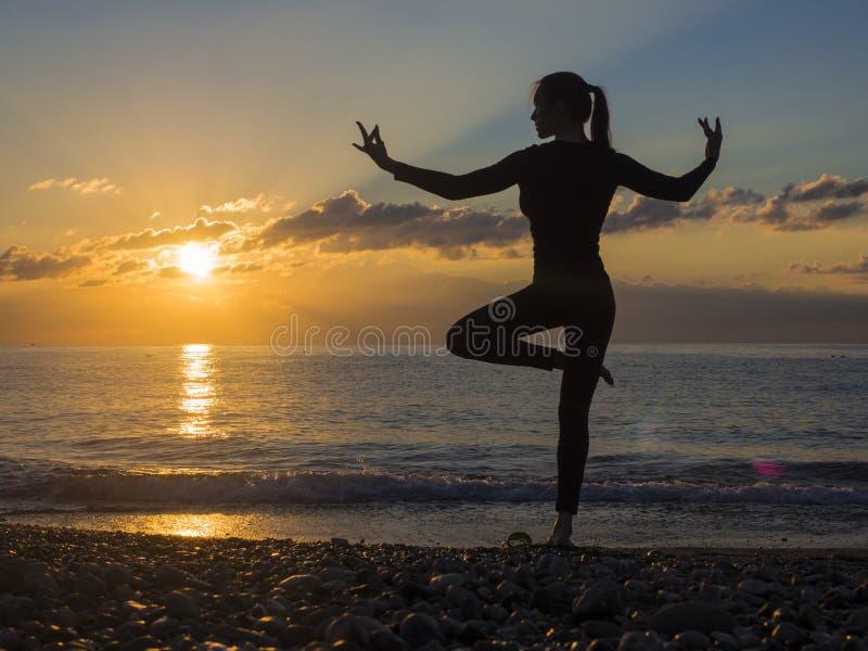 Kontur av en härlig yogakvinna i morgonen arkivbilder