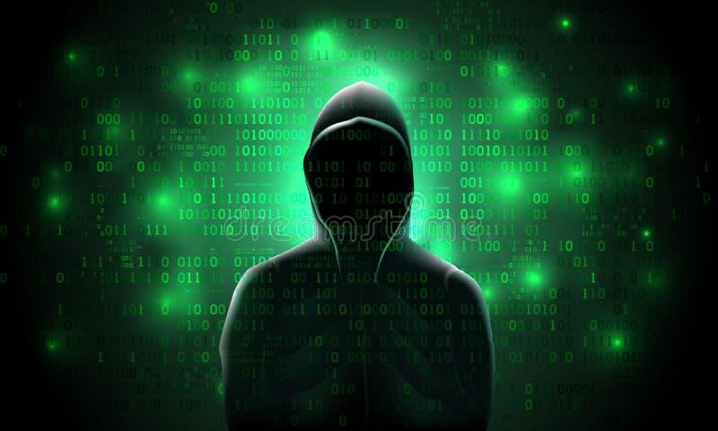 Kontur av en en hacker i en huv, mot en bakgrund av den glödande gröna binära koden, hacka av ett ADB-system, datastöld stock illustrationer
