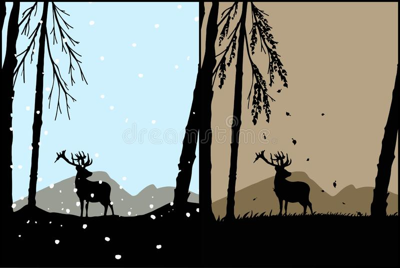 Kontur av en hjort royaltyfri illustrationer
