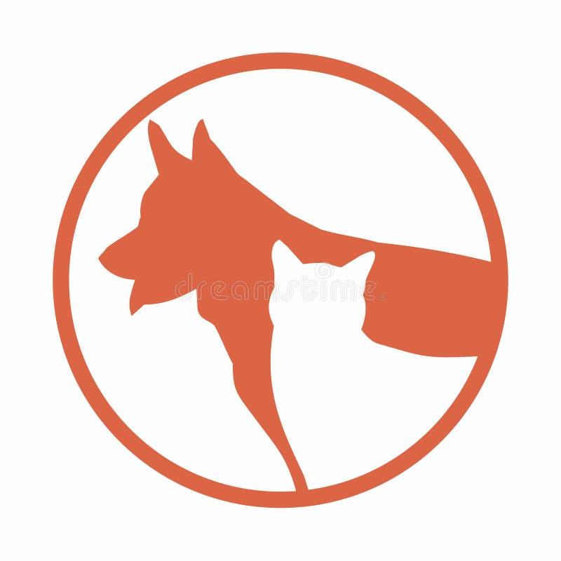 Kontur av en katt och en hund RÖTT CIRKLA royaltyfri illustrationer