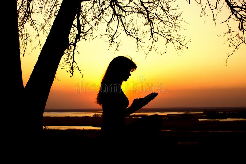 Kontur av en kvinna som studing bibeln i natur på solnedgången, begreppsreligionen och andlighet arkivfoto