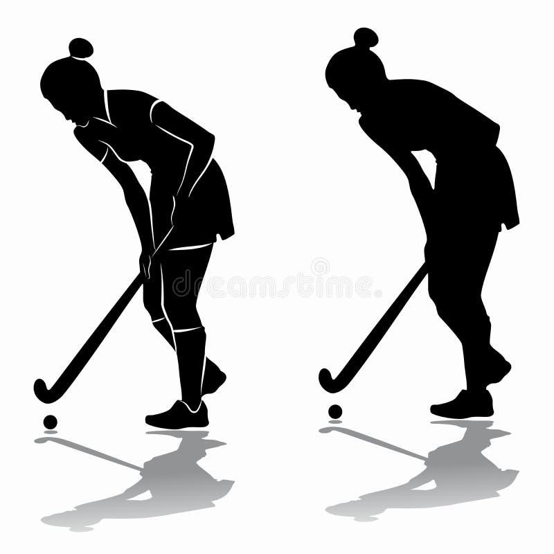 Kontur av en landhockeyspelare, vektorattraktion vektor illustrationer