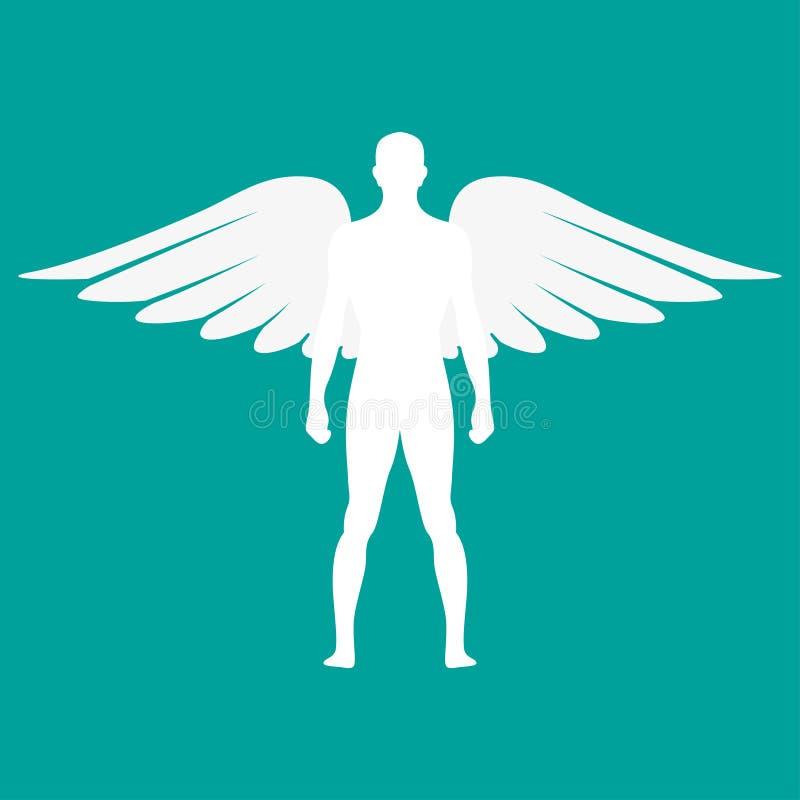 Kontur av en man med vingar i vit färg också vektor för coreldrawillustration royaltyfri illustrationer