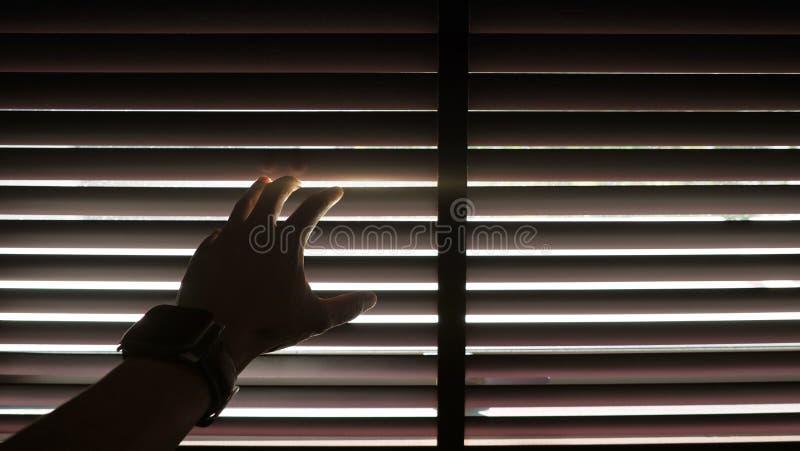 Kontur av en manlig hand som bär den digitala klockan som öppnar den träblinda gardinen med morgonsolljuseffekt royaltyfri fotografi