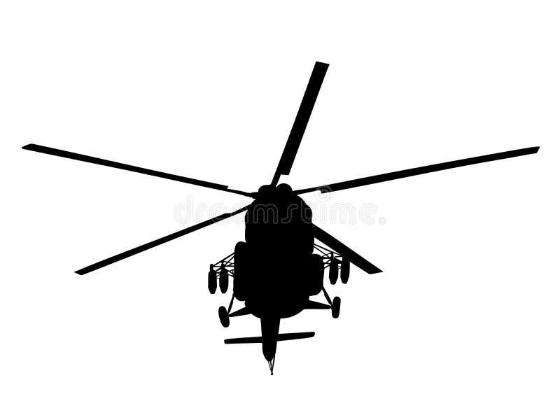 Kontur av en militär helikopterillustration som isoleras på vit Trans.flygplan för strid Avbrytare i luft royaltyfri illustrationer