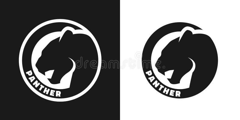 Kontur av en panter, monokrom logo vektor illustrationer
