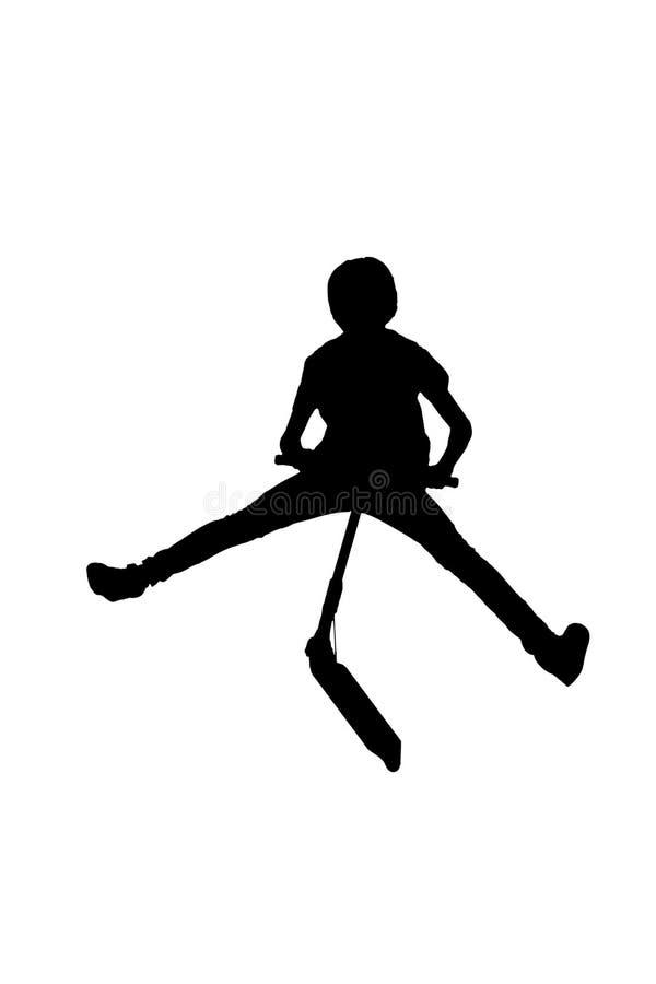 Kontur av en pojke med hans sparkcykel vektor illustrationer