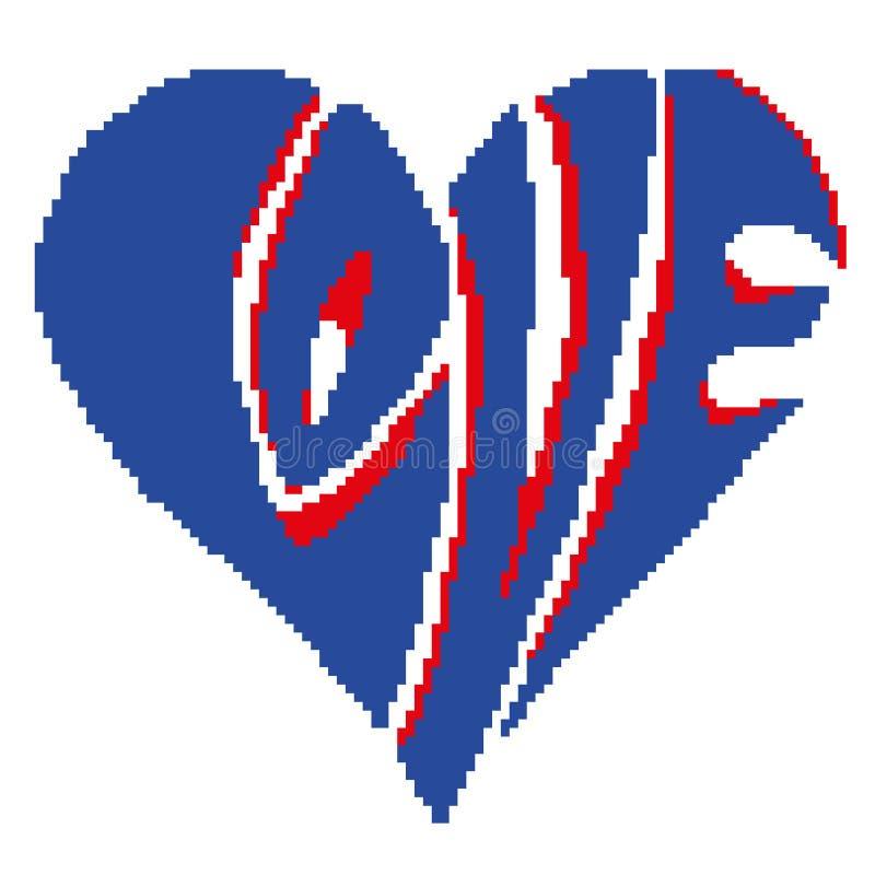 Kontur av en röd hjärta med blåa bokstäver med de utdragna fyrkanterna för inskriftförälskelse, PIXEL Dag för ` s för valentin fö vektor illustrationer