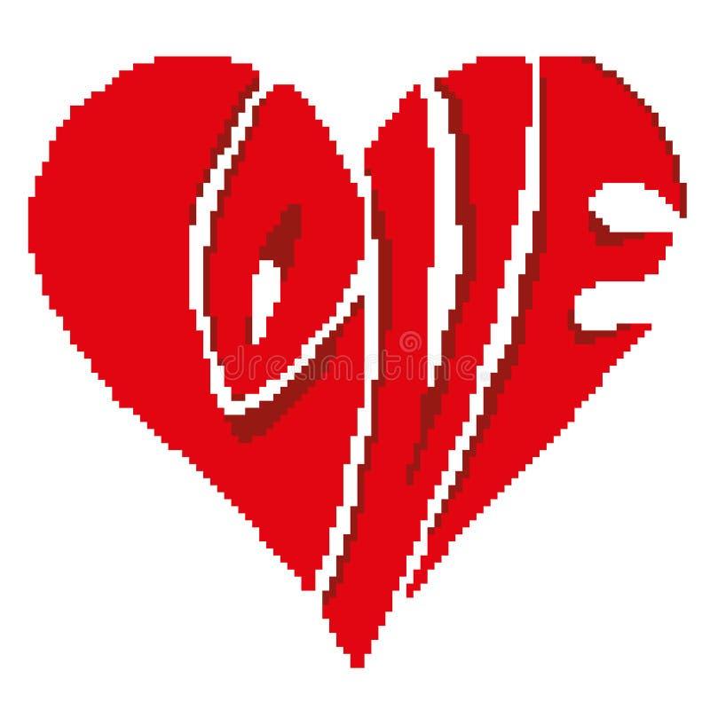 Kontur av en röd hjärta med de utdragna fyrkanterna för inskriftförälskelse, PIXEL Dag för ` s för valentin för hälsningkort lyck vektor illustrationer