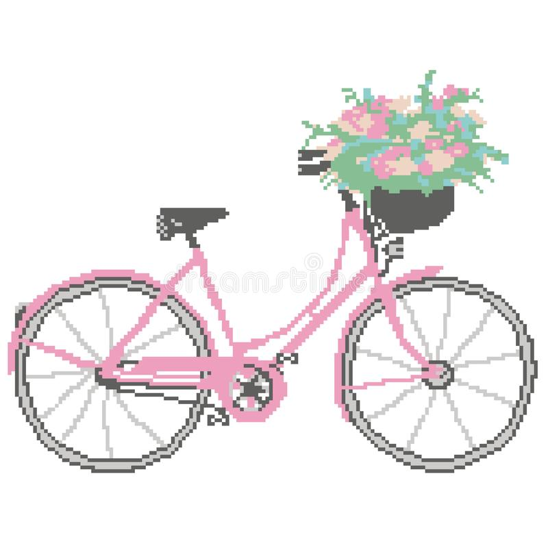 Kontur av en rosa cykel med en korg av färger som dras av fyrkanter, PIXEL medel royaltyfri illustrationer
