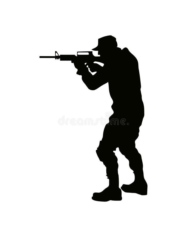 Kontur av en soldat med ett vapen, krigsmakt stock illustrationer