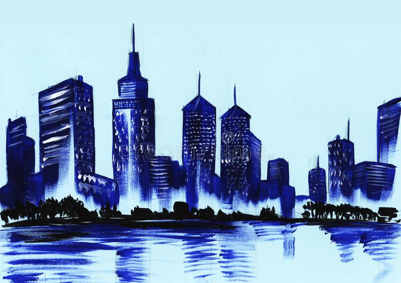 Kontur av en stor nattbelysningstad Hand som dras på en pappers- vattenfärgillustration royaltyfri illustrationer