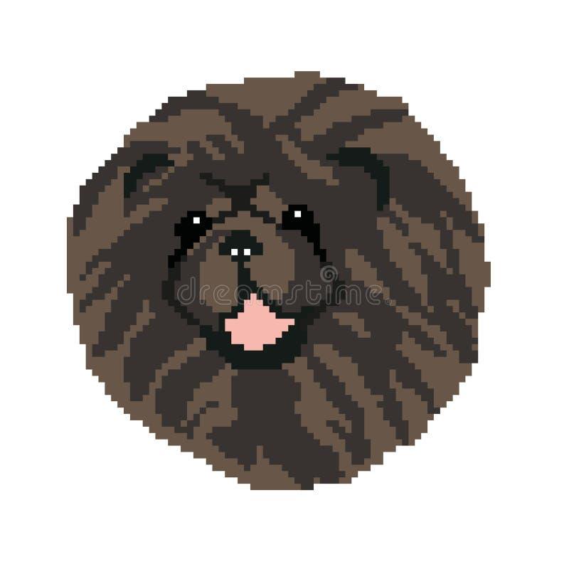 Kontur av en svart nos för käk för avelhundkäk, huvud som dras i fyrkanter, PIXEL Bilden av tystar ned av den svarta Chow Chow vektor illustrationer