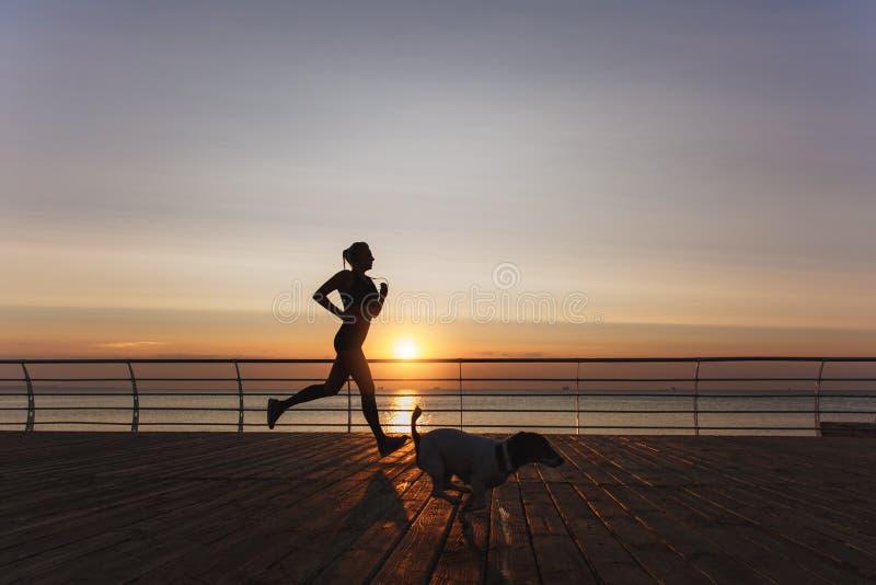 Kontur av en ung härlig idrotts- flicka med långt blont hår i hörlurar som kör på gryning över havet med hennes hund arkivfoton