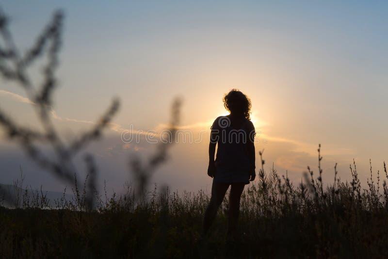 Kontur av en ung kvinna mot himlen bak s?rja plattform sommarsolnedg?ngtrees tv? royaltyfri bild