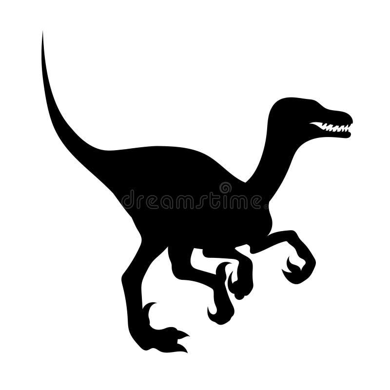 Kontur av en velociraptor vektor illustrationer